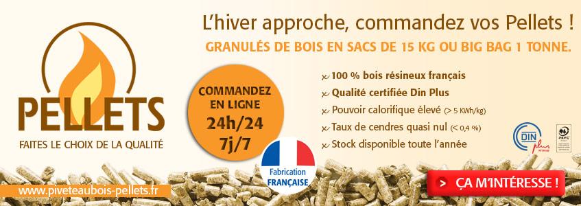 Commandez en ligne 24h/24 et 7J/7 des pellets norme Din+, de fabrication Fran�aise !